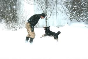 Zeke and Nino in the snow garden