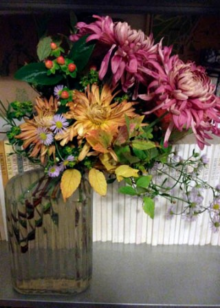 mums, asters, hypericum and spiraea